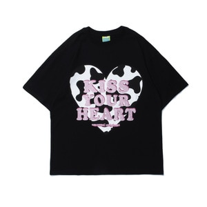 2021 Streetwear Love Letter PrintingT Shirt Hip Hop Men Harajuku Tshirt Short Sleeve Cotton T-Shirt Fashion Black Loose Tee Top