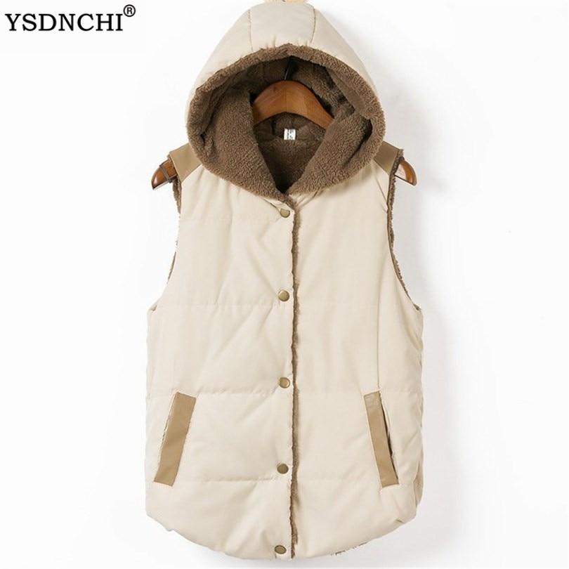 Winter Jacket Plus Size Women Vest Pocket Hooded Coat Warm Casual Thick Cotton Vest Female Slim Sleeveless Outdoor Coat