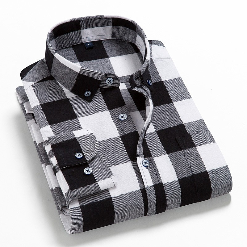 2021 Spring Autumn Plaid Shirt Men Cotton New Male Casual Long Sleeve Shirt  High Quality  Man Clothes