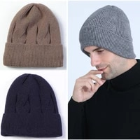 autumn and winter new fashion mens plus velvet thick cable knit warm hat domeless wool warm pure color earmuff hat