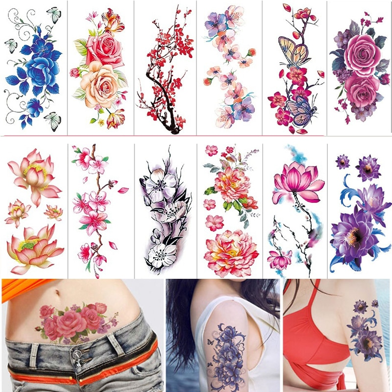 36 hojas 3D impermeable temporal rosas flores rojas tatuajes mujeres chica Arte del cuerpo manga DIY pegatinas brillo tatuaje belleza exótico