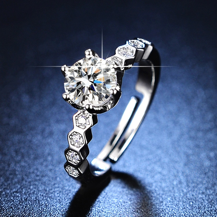 Resizable Rings Engagement Rings for Women 925 Sterling Silver Women Rings Silver 925 Jewelry Diamond Ring