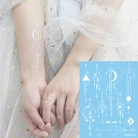 white henna temporary tattoo stickers moon circle geometry tattoos hand arm bracelet anklet waterproof tattoos for women party