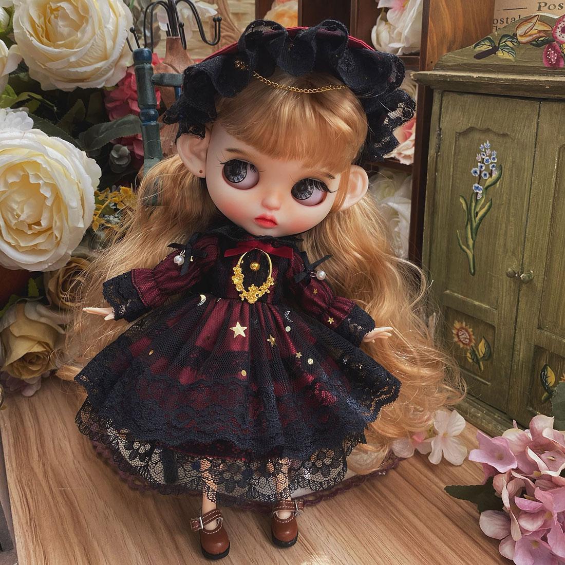 Modikerbjd retro royal court preto vermelho gauzy vestido para blyth boneca-sem boneca