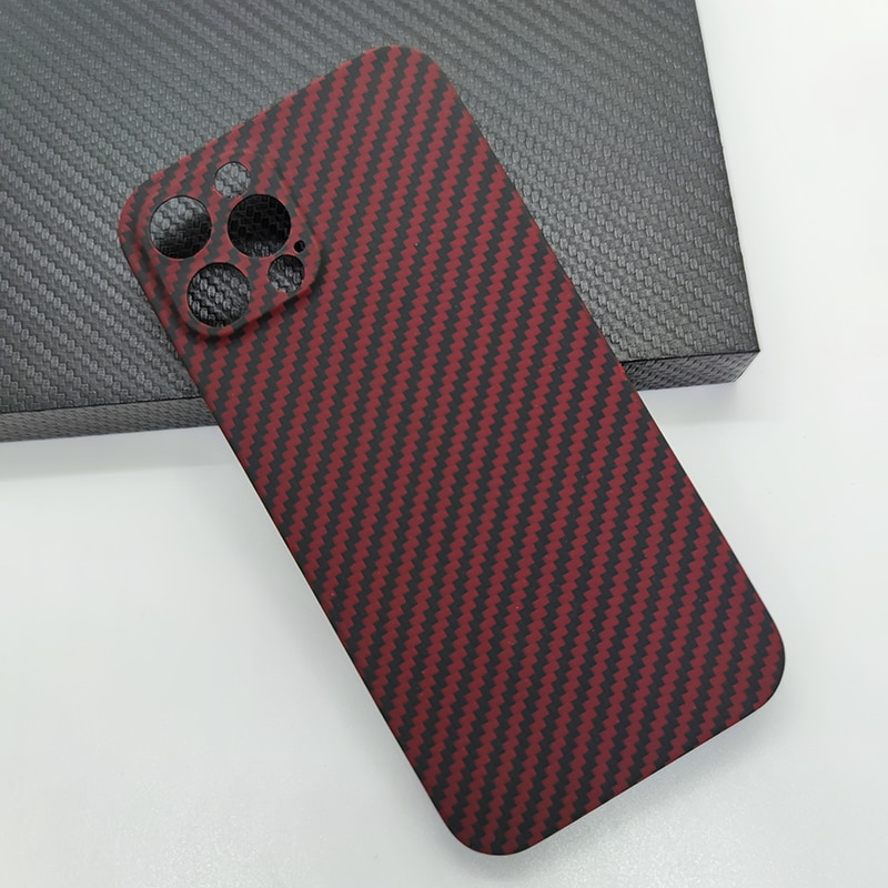 حافظة هاتف فاخرة من ألياف الكربون لهاتف آيفون 12 برو ماكس أسود أحمر رفيع للغاية لهاتف iPhone12 حافظة حماية صغيرة للكاميرا