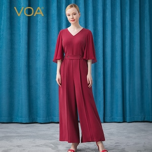 VOA Silk 46m/m Boundless Micro Elastic Stripe Wine Red V-neck Contrast Panel 5 Sleeve Wide Leg Jumpsuit Women KE299
