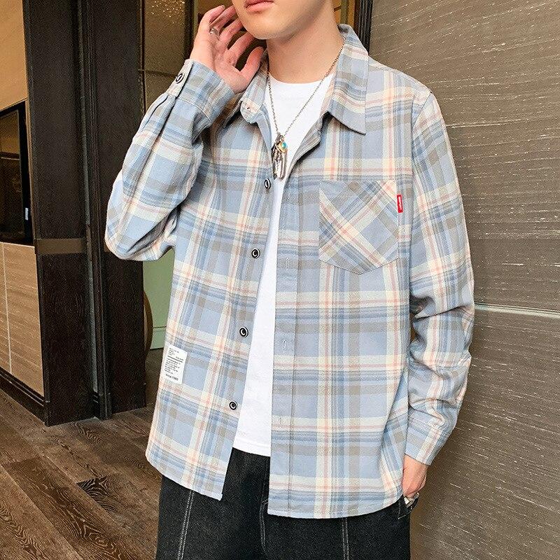 Мужская рубашка, новинка сезона осень 2021, корейская мода, клетчатая рубашка с длинными рукавами, свободная повседневная мужская рубашка