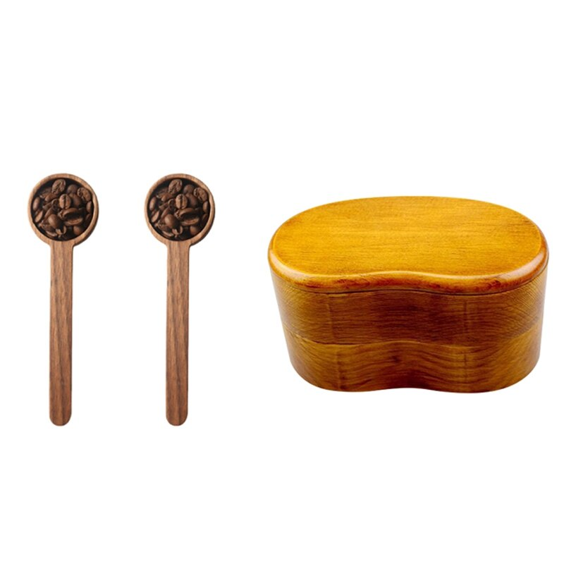 1x Apanese بينتو مربع ، صناديق الغداء ، اليابانية مزدوجة طبقة و 2 قطعة القهوة ملعقة مع مقبض الجوز الأسود الخشب الصلب