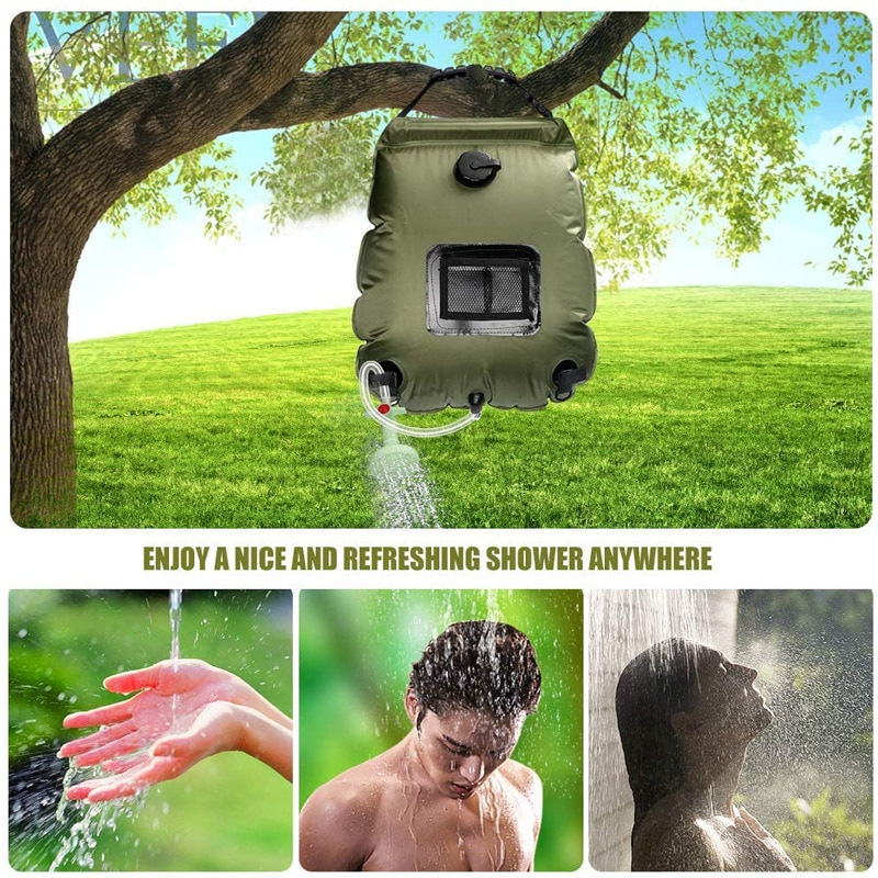 20L Water Bags Outside Shower Camping Shower Hiking Solar  Outdoor Camping  Climbing Hydration Bag Hose Switchable Shower Head