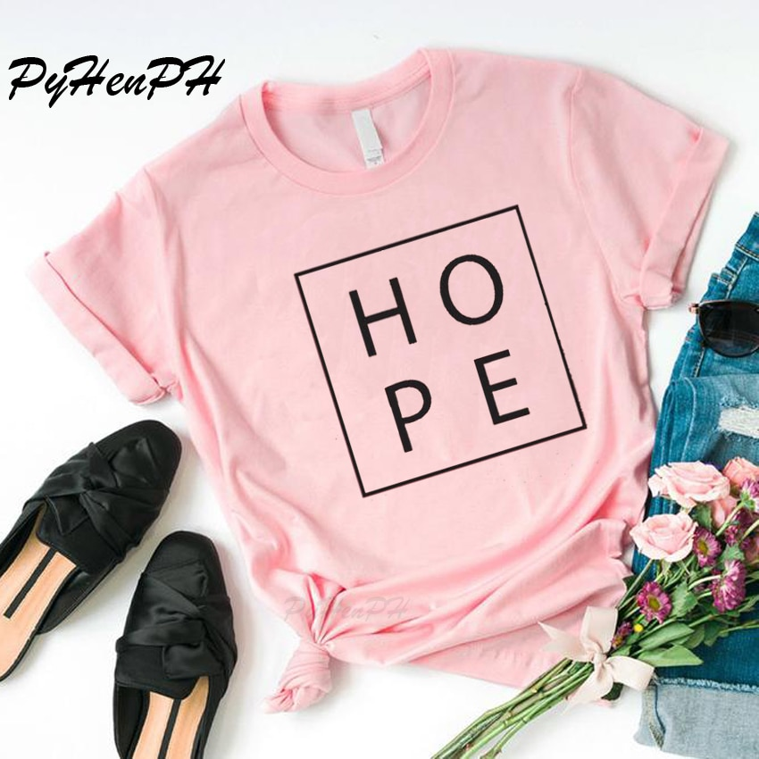 Harajuku esperanza letra impresa camiseta mujer fe esperanza amor cristiana camiseta femenina High Street Tops camisetas de algodón de gran tamaño