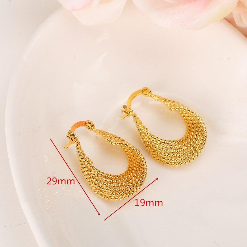 Pendientes huecos Vintage Real 18 K oro sólido G/F joyería Chic de moda pendientes para esposas de fiesta para regalo de mujer