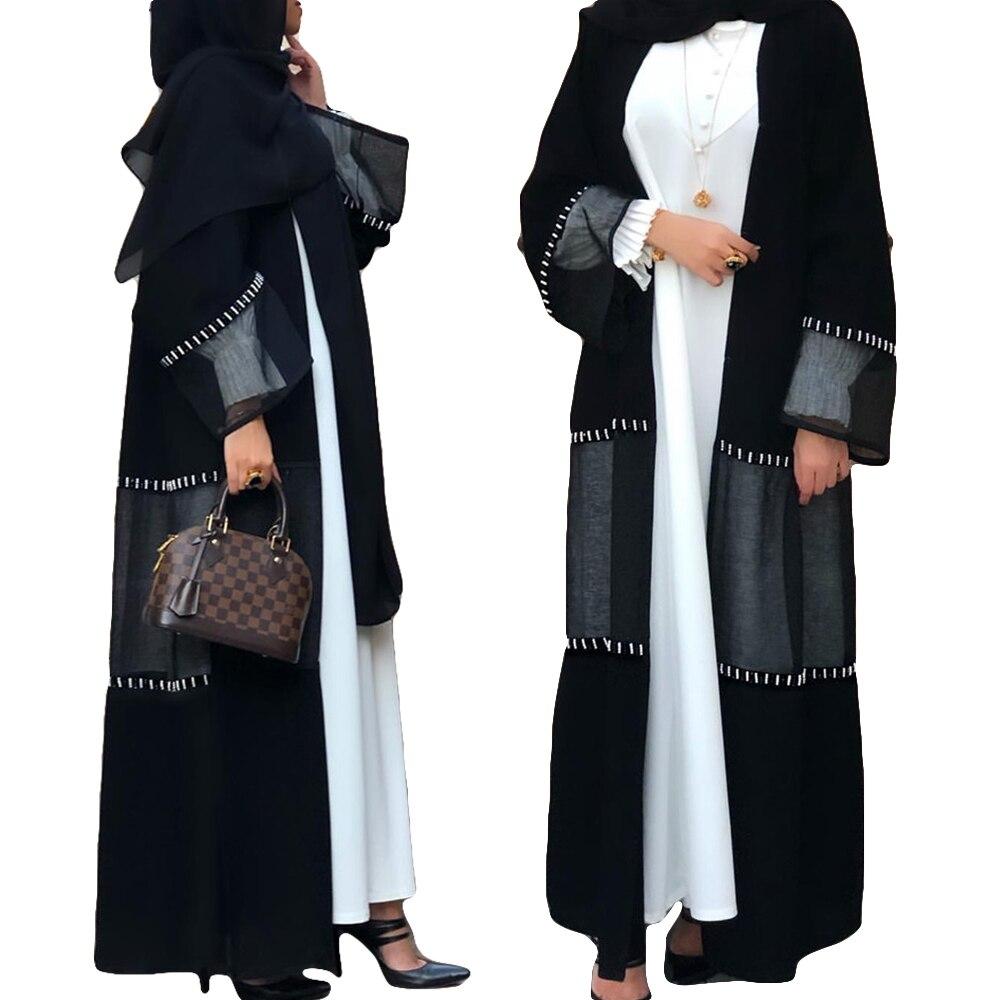Longo para Mulheres de Luxo com Miçangas Abaya Muçulmano Vestido Rendas Retalhos Dubai Ramadan Maxi Robe Árabe Jilbab Islâmico Aberto Quimono Moda