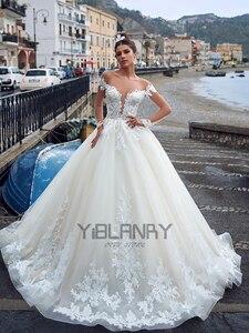 YILIBER Lace wedding dress delicate lace retro atmosphere wedding gown long sleeve v-neck wedding 2021 custom made