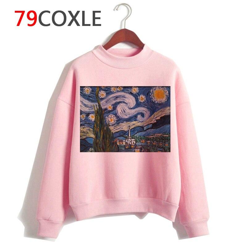 Van gogh bluzy śmieszne Grunge kobiet Ullzang kobiety bluzy harajuku Cartoon 90s Vintage moda bluza z kapturem hip hopowa estetyczne