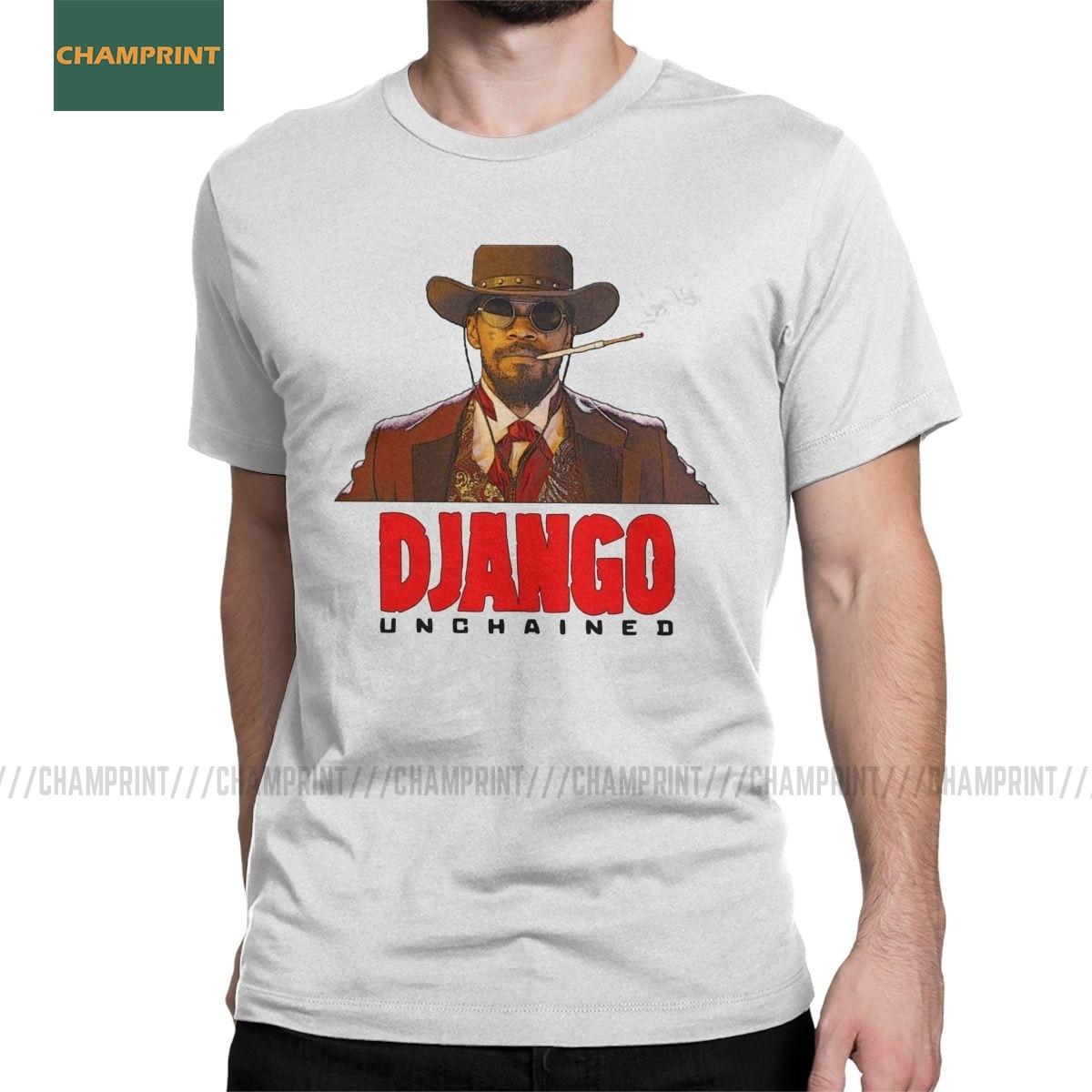 Impresionante camiseta de Django desencadenado, camisetas de algodón para hombre, Quentin Tarantino, película occidental, Leonardo, camisetas de manga corta para dentista vaquero