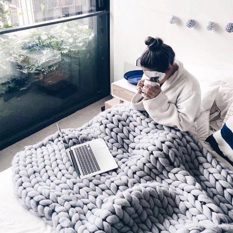 Плетеное одеяло с толстой нитью, вязаное вручную твист-одеяло в скандинавском стиле, креативное твист-одеяло ручной вязки