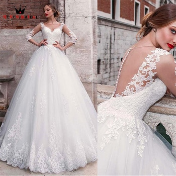 A-line Half Sleeve Wedding Dresses Tulle Lace Appliques Long Formal Elegant Bridal Gown 2022 New Design Custom Made DS117