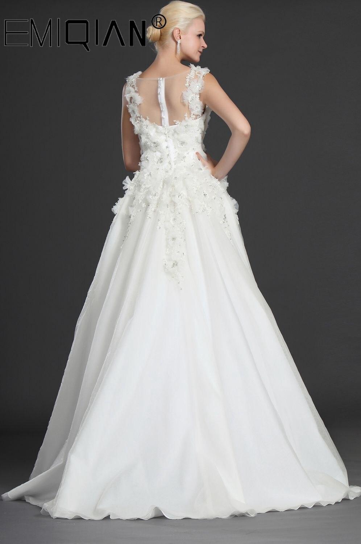 Appliques Flowers Luxury Wedding Dresses White Tulle Vestido De Casamento See Through Sexy Wedding Gowns Abiti Da Sposa