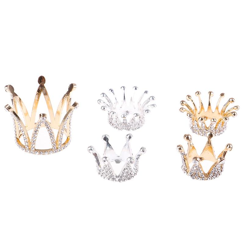 Pluma de pincel para arte de uñas oro plata Rhinestone diseño de corona soporte