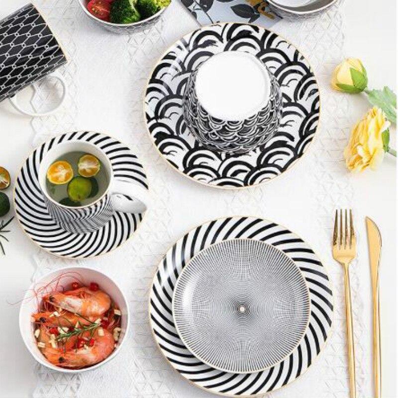Bol de ensalada con patrones geométricos nórdicos, recipiente de sopa de fideos europeos, juego de cerámica, utensilios de cocina, vajilla YHJ40703