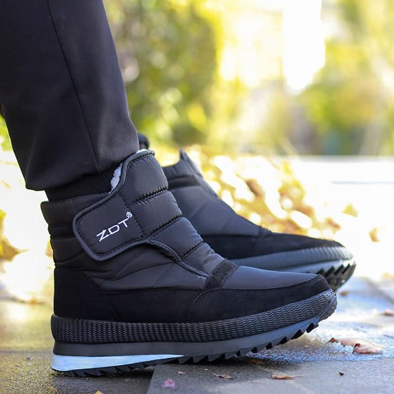 الشتاء الرجال الأحذية أكبر حجم 47 الشتاء حذاء كاجوال الرجال للجنسين حذاء من الجلد مقاوم للماء عدم الانزلاق سميكة الدافئة الفراء الرجال الثلو...