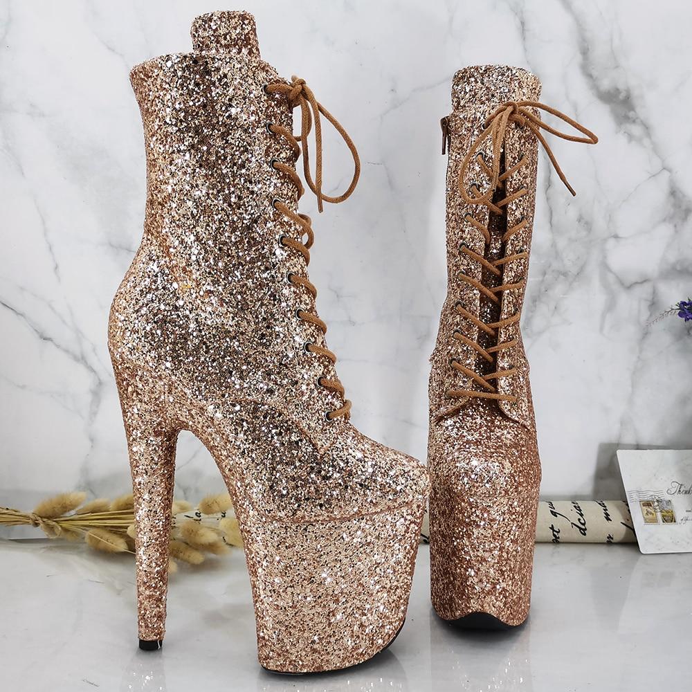 Leecabe Glitter Upper 20CM/8Inch Women's Platform disco party High Heels Shoes Pole Dance boot