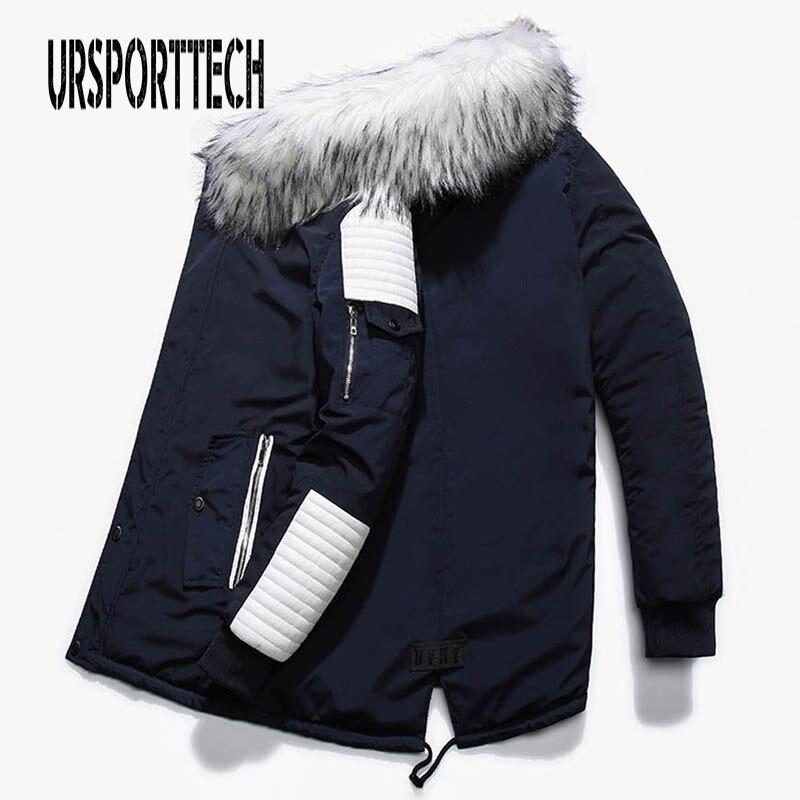 Chaqueta de invierno de marca, abrigo Parka largo de cuello con capucha de piel blanco grande para hombre, abrigo grueso, ropa larga, chaquetas y abrigos para hombre