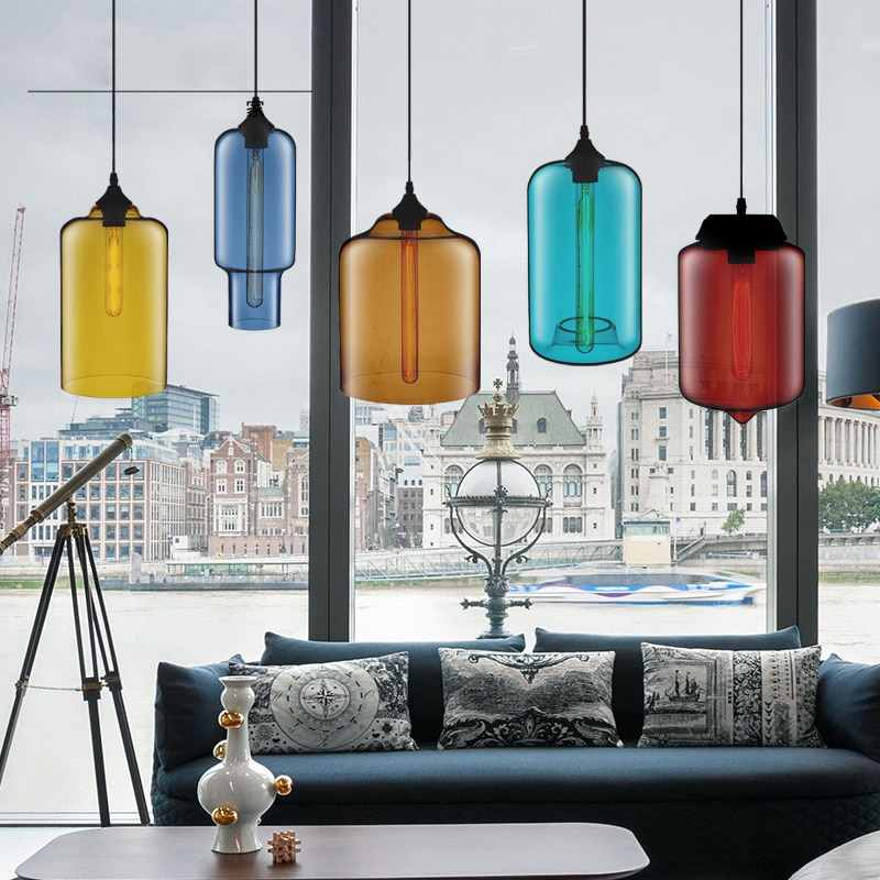 FLKL Retro Creative Personality Modern Simple Nordic Industrial Style Cafe Restaurant Bar Glass Chandelier Single Head creative contemporary single head restaurant bar bedroom of children clothing store droplight of glass ball and spherical shape