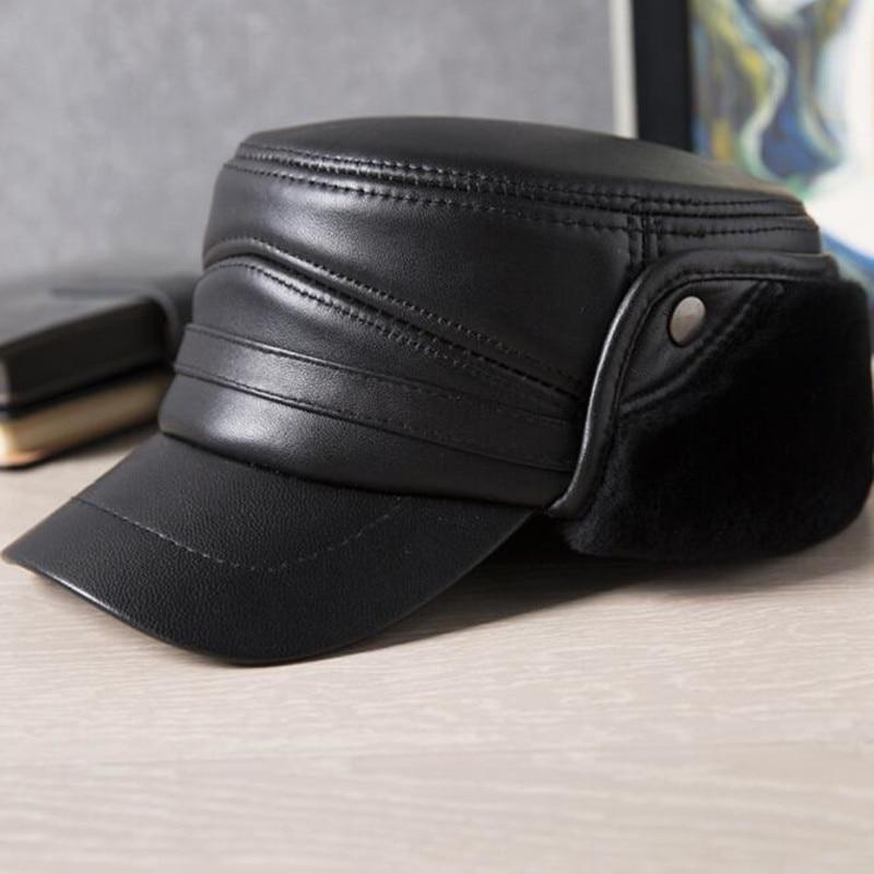 XdanqinX جديد الشتاء الرجال زائد المخملية زغب قبعة عسكرية جلد الغنم الباردة برهان غطاء للأذنين الدافئة الطبيعية جلد طبيعي قبعة مسطحة