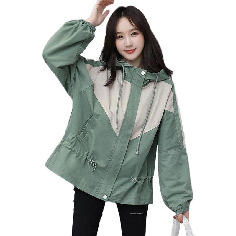 Nueva primavera y otoño coreano sueltos chaqueta de Parka con capucha Casual...
