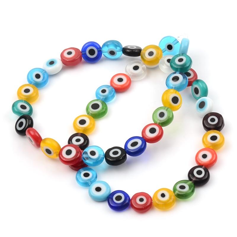 Grânulos de iluminação de forma redonda mau olho tcheco contas de vidro solto espaçador grânulos para fazer jóias pulseira colar encantos jóias