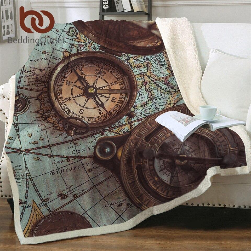 BeddingOutlet-بطانية مع بوصلة بطابع خريطة العالم ، وملاحة على الطراز القديم ، ثلاثية الأبعاد