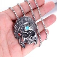 new retro skull head african chief pendant necklace mens necklace vintage sliding metal silver plated skeleton necklace pendant