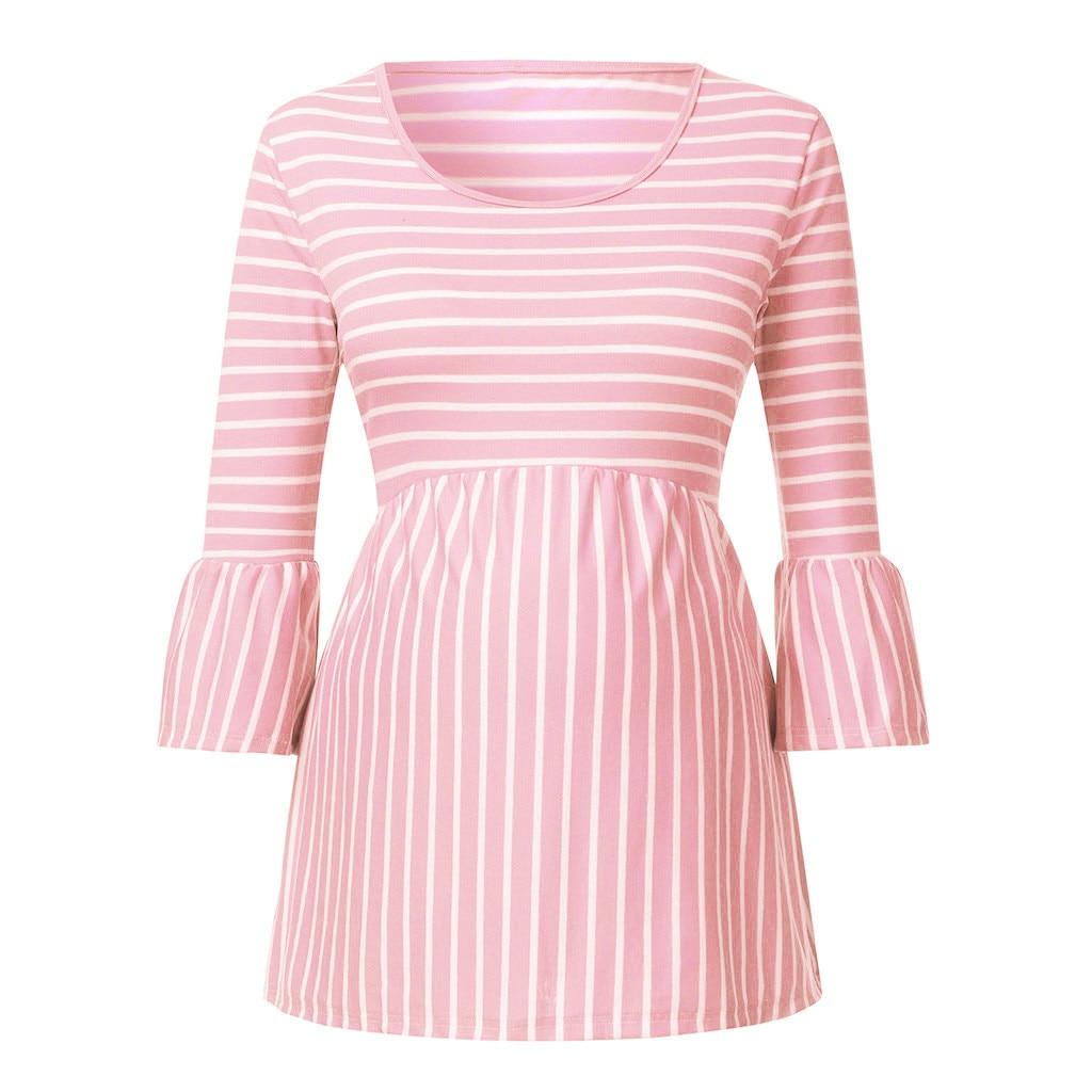 Nueva Blusa de maternidad para mujeres embarazadas, cuello redondo, manga 3/4, blusa a rayas Pagoda, Jersey, ropa para embarazada # guahao