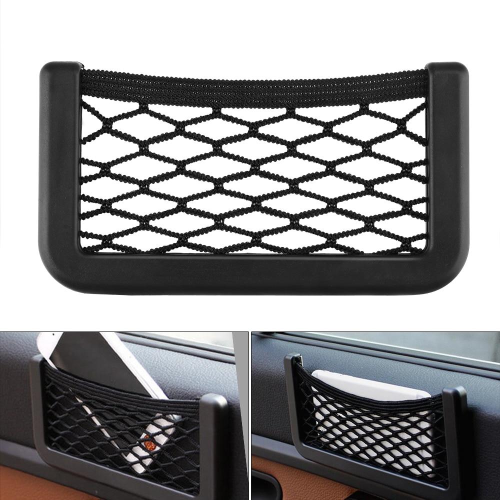 Bolsa de almacenamiento negra duradera para coche, bolsa de red de almacenamiento para asiento, bolsa de almacenamiento Universal de fácil instalación elástica