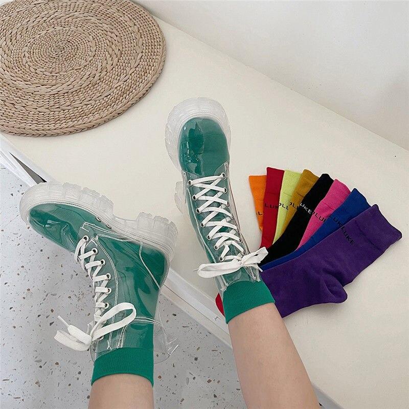 2021 كول موضة النساء شفافة منصة أحذية مقاوم للماء حذاء من الجلد المؤنث واضح كعب أحذية بوت قصيرة مثير الإناث أحذية المطر