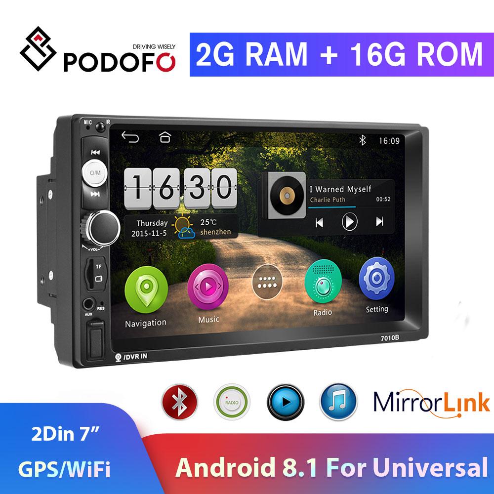 "Podofo 2din Car Radio Android8.1 GPS Navi WiFi Car Multimedia Player 2DIN 7"" Autoradio for Universal TF USB Bluetooth Mirrorlink"