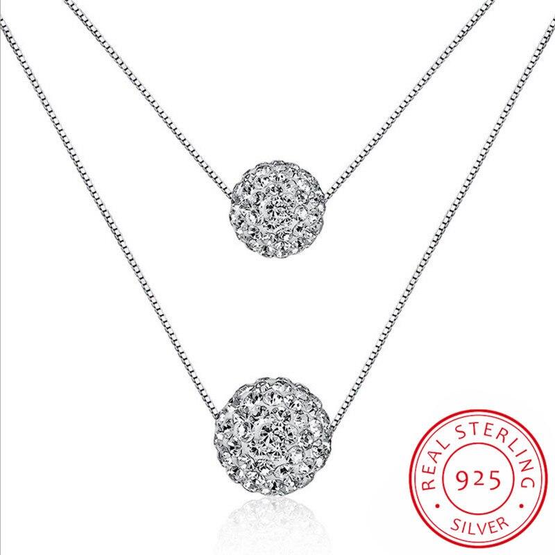 Colar de prata esterlina 925, colar de pingente de camada dupla cz brilhante de cristal de zircônia com bola de sorte sorte para mulheres presente colares de prata S-N58