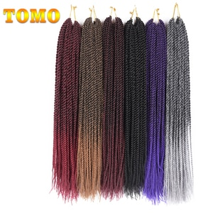 TOMO Senegalese Twist Braiding Hair Extensions 14 18 22 Inch Ombre Color Synthetic Handmade Crochet Braids Brown Grey 30 Roots