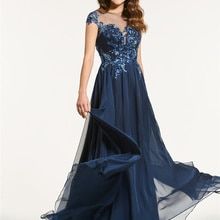 A-Line Floor-Length Scoop Cap Sleeves Appliques Beading Button Prom Dress With 30D Chiffon 2021