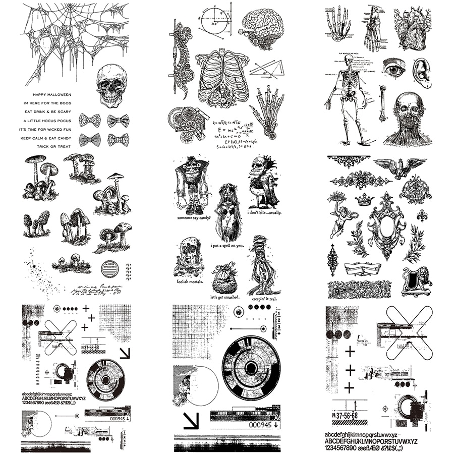 2021 New Retro Halloween and Christmas 6 x 8 inches Clear Stamp For Craft Making Skeleton Card Scrapbooking No Metal Cutting Die