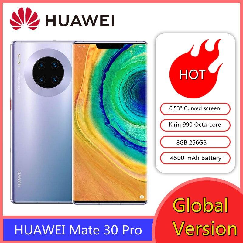 Оригинальный HUAWEI Mate 30 Pro 30pro 8GB 256GB смартфон 40MP камеры 6,53 дюйм экран с изогнутыми краями Kirin 990 Восьмиядерный мобильный телефон