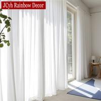 Высококачественная белая полупрозрачная занавеска s для гостиной, однотонная длинная фатиновая занавеска для спальни, вечерние шторы из ву...