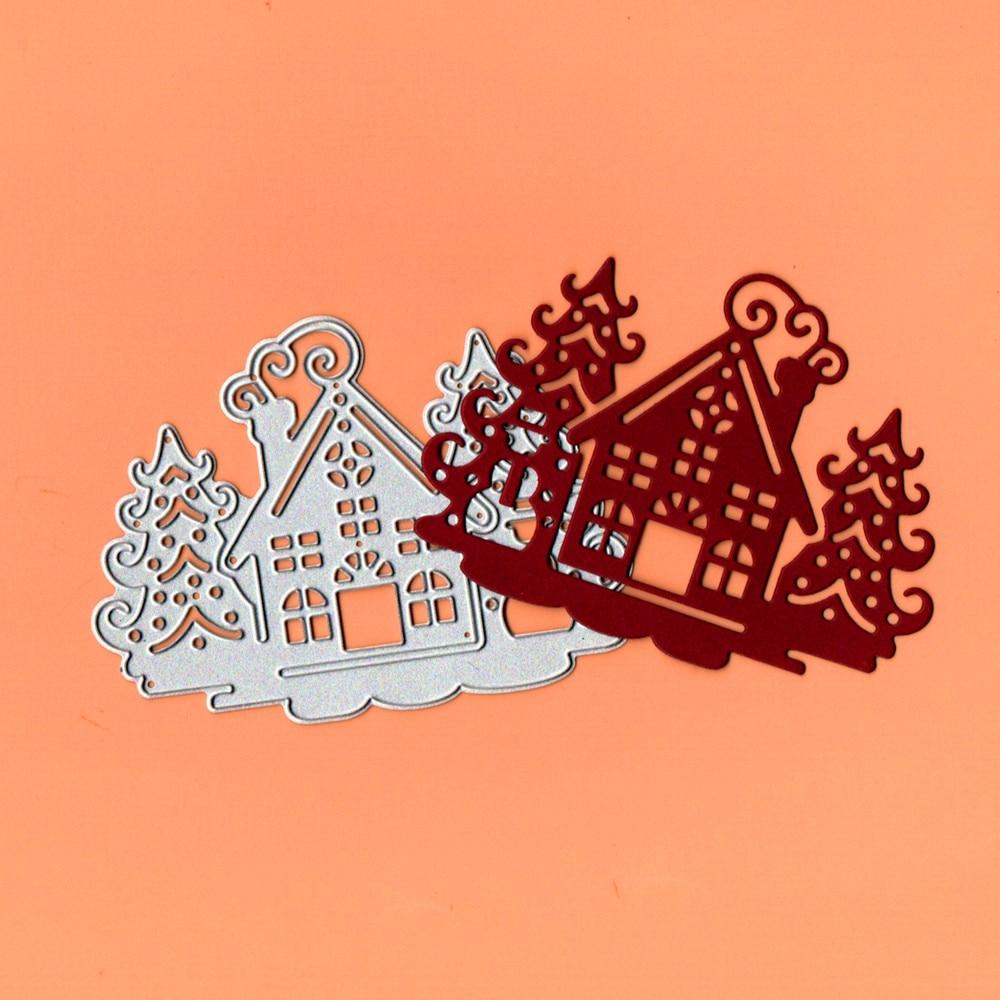 Weihnachten Baum Haus Metall Schneiden Stirbt Schablone Template für DIY Präge Papier Fotoalbum Karte, Der Handwerk Stirbt Scrapbooking