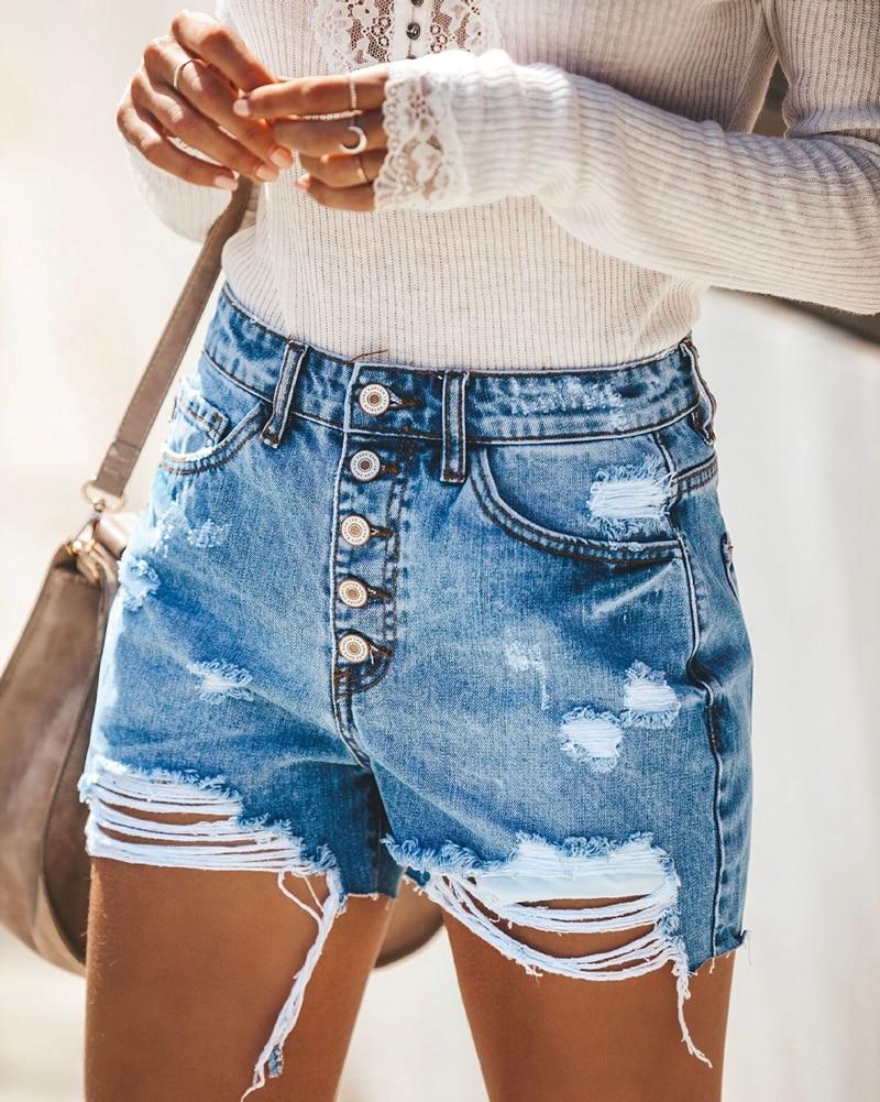 ¡Novedad de 2020! Pantalones cortos vaqueros rasgados de moda de verano para mujer, pantalones cortos informales de cintura alta para mujer, pantalones cortos sexis de tela vaquera ajustados con realce