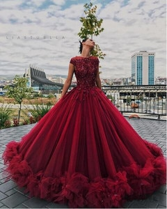 Luxury Puffy Red Floral Prom Formal Dresses Liastublla Design Lace Tutu Full length Princess Occasion Evening Gowns Wear