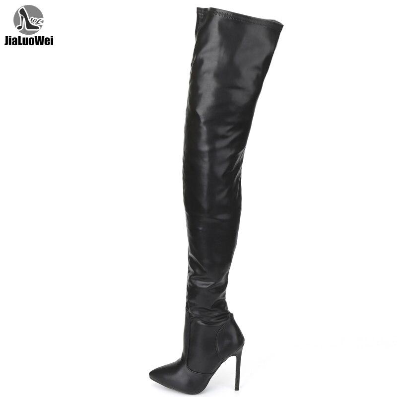 Jialuowei-حذاء نسائي طويل بكعب عالٍ ، حذاء بكعب عالي ، مثير ، سحاب ، فوق الركبة ، طلاء أسود لامع ، مقاس كبير 36-46