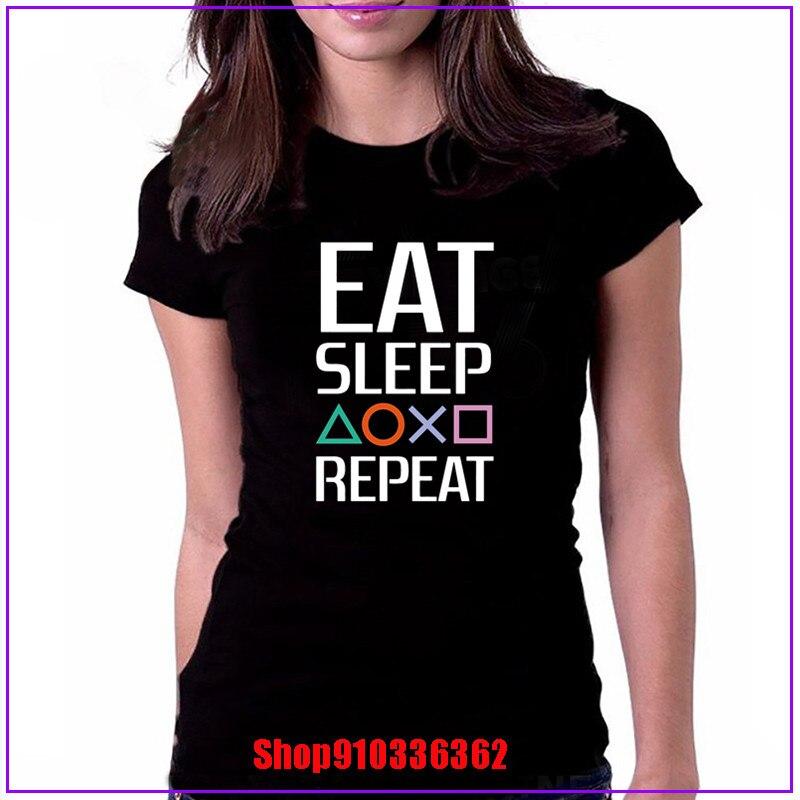 Eat Sleep game repeat camiseta blanca mujer casual 100% algodón camiseta personalizada manga corta divertida moda algodón estampado ropa mujer