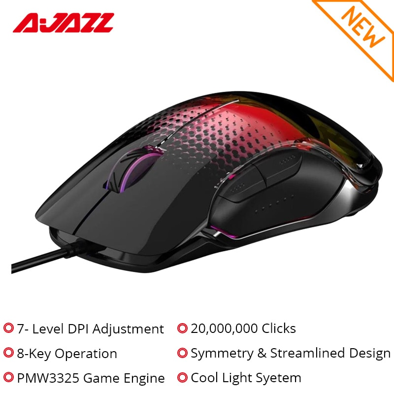 Ajazz-ماوس ألعاب AJ358 ، سلكي ، إضاءة خلفية ، USB ، ملون ، 10000 ديسيبل متوحد الخواص ، شريحة PMW3325 ، 8 مفاتيح ، 7 مستويات ، تصميم متماثل ومريح