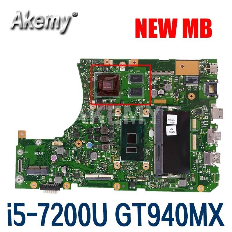 Akemy X556UV اللوحة لابتوب ASUS X556UQK X556UB X556UQ X556UJ X556UF X556U اللوحة الأصلية 8GB-RAM I5-7200U GT940MX